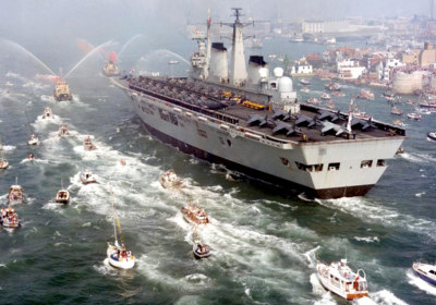 HMS Invincible Returns From Falklands War